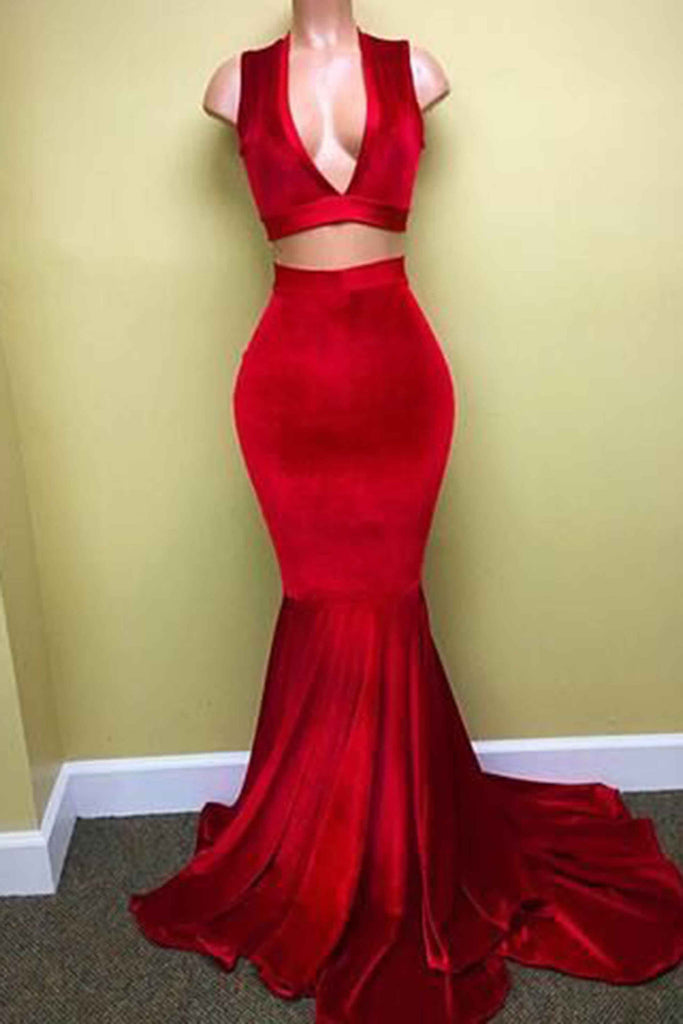 Red velvet two pieces V-neck train prom dress,floor-length evening dress