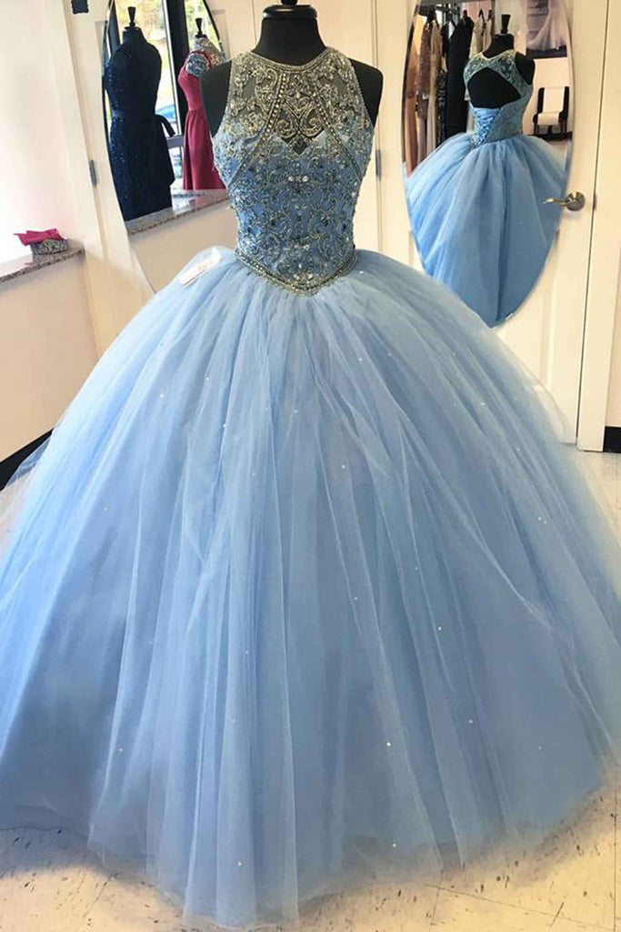 Light blue tulle satin round neck beaded sequins open back ball gown ...