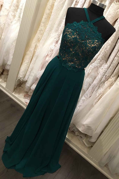 2018 evening gowns - Deep green chiffon lace open back sexy evening dress,formal dresses