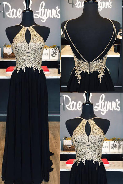 Sweet 16 Dresses | Black chiffon lace applique open back long prom dress,formal dresses