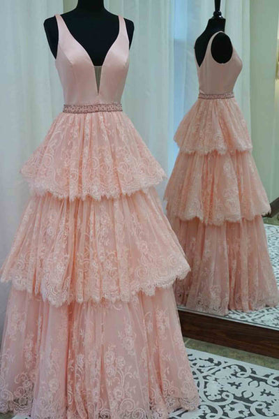 2018 evening gowns - Light orange lace satins v-neck tiered A-line long dress for teens