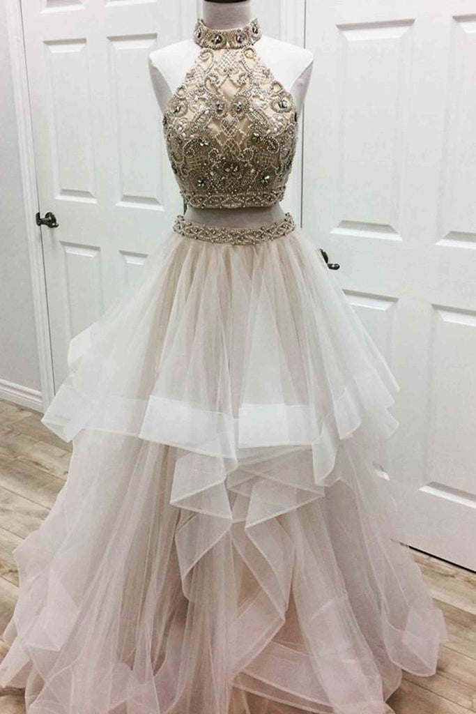 Sweet 16 Dresses | White tulle two pieces high neck beaded A-line long dress for teens
