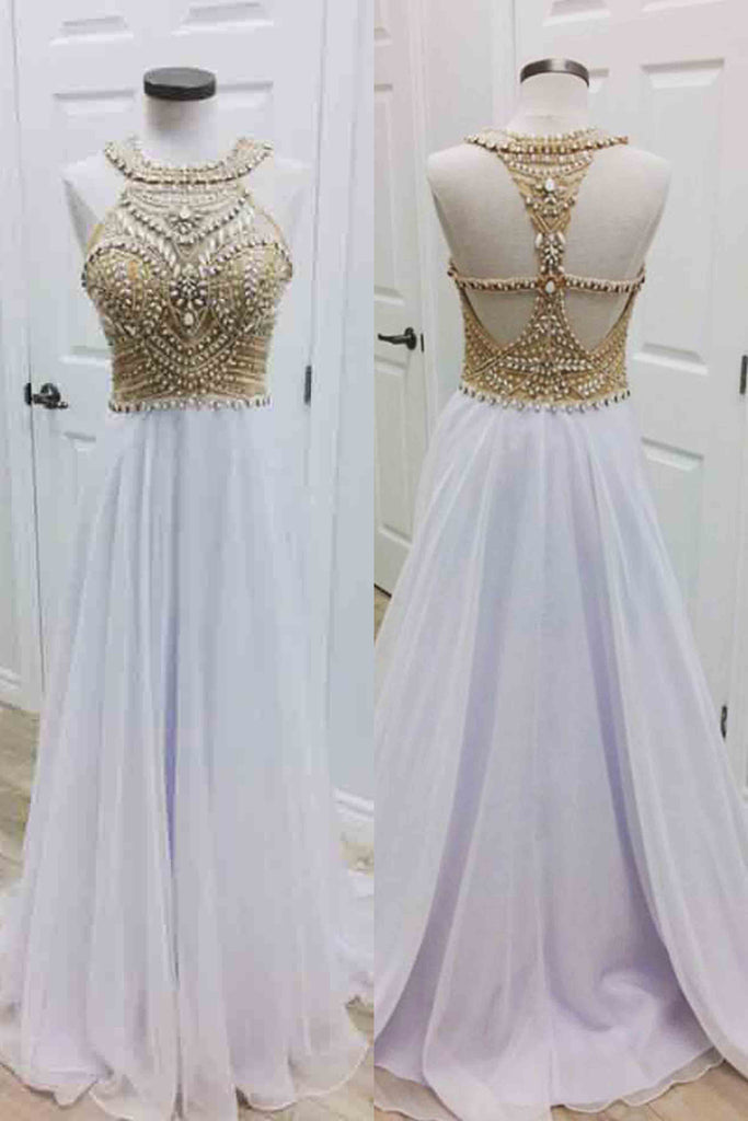 Sweet 16 Dresses | White chiffon round neck beading A-line long dress for prom