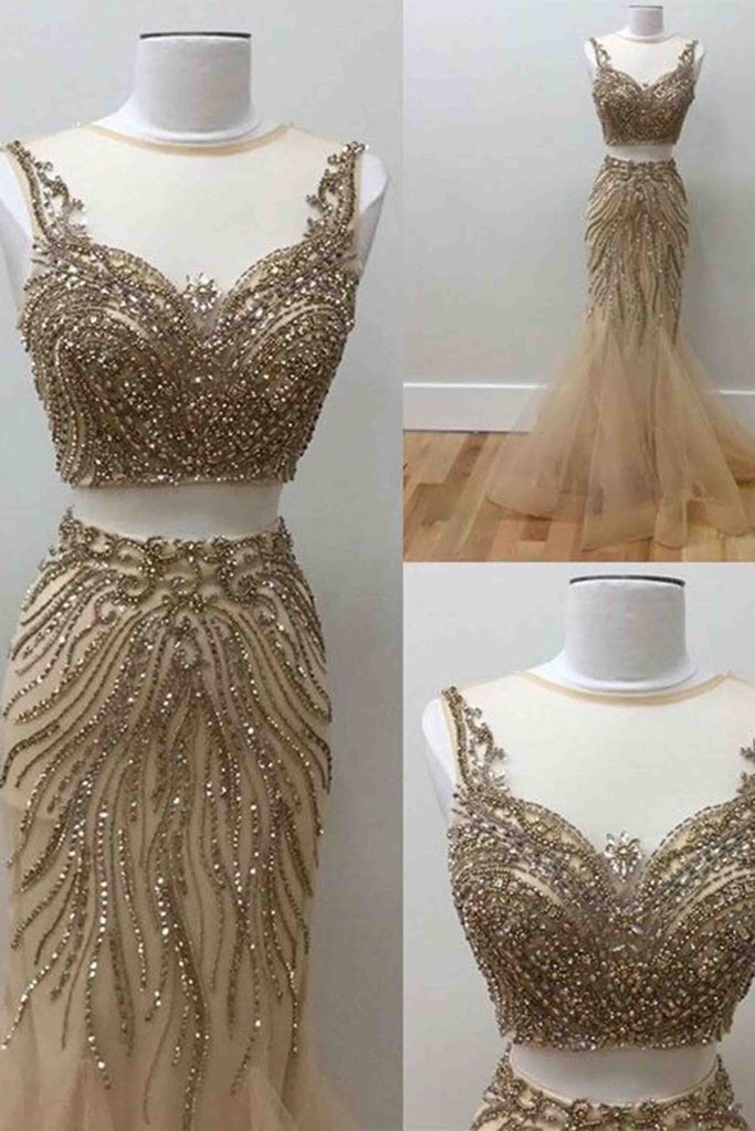 2018 evening gowns - Luxury champagne tulle sequins two pieces see-through mermaid dresses