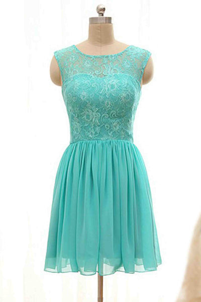 Turquoise chiffon lace round neck short A-line dress,party dress