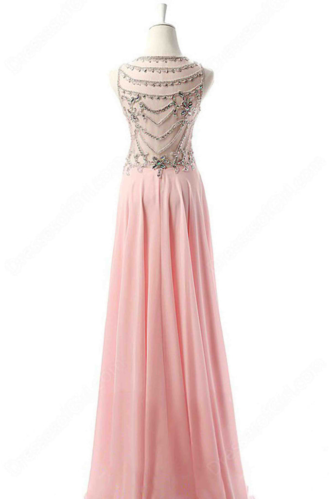Sweet 16 Dresses | Pink chiffon round neck see-through back beaded long evening dress