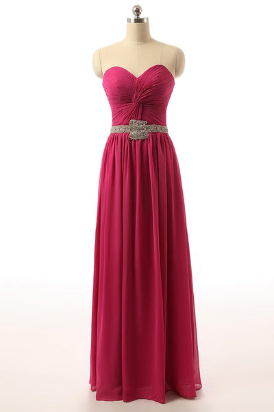 Sweet 16 Dresses | Rosy chiffon sweetheart sequing beaded long evening dress for prom