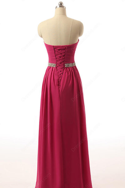 Rosy chiffon sweetheart sequing beaded long evening dress for prom