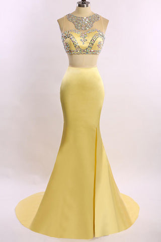 Yellow satins two pieces round neck beading long dress for prom