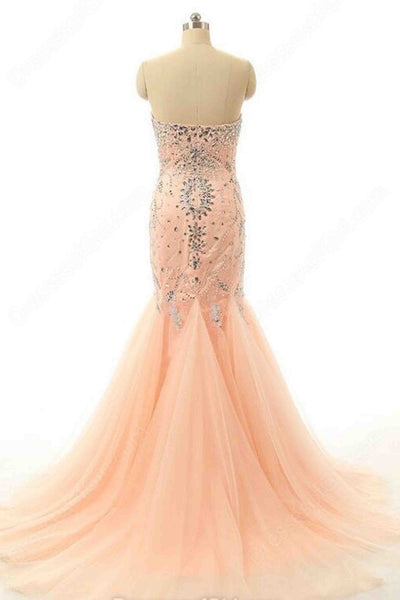 Orange tulle sweetheart court train beading trumpet/mermaid prom dresses - prom dresses 2018