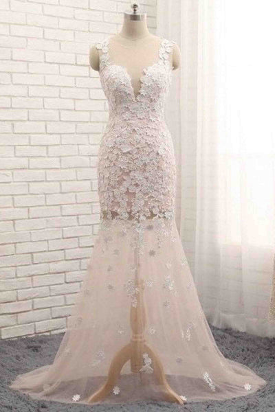 Trumpet/mermaid scoop neck tulle sweep train appliques lace new style prom dresses - prom dresses 2018
