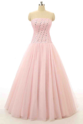 Pink tulle beading sweetheart A-line princess long prom dresses