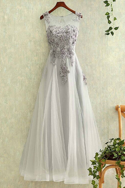 Sweet 16 Dresses | Gray tulle round neck lace applique see-through long evening dresses