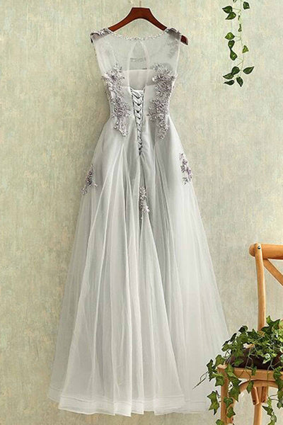 2018 evening gowns - Gray tulle round neck lace applique see-through long evening dresses