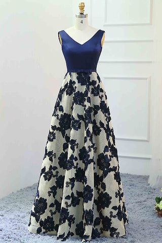 Navy blue satins sweetheart mesh long dresses,flowers spring homecoming dress