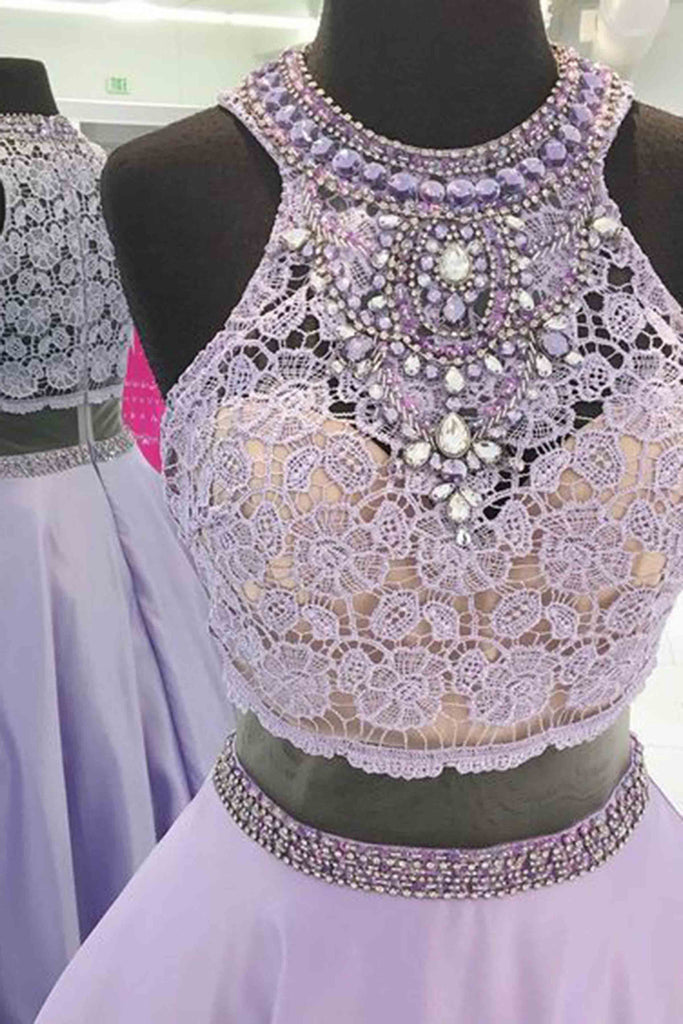 Sweet 16 Dresses | Purple satins lace top rhinestone see-through round neck dress,long dress