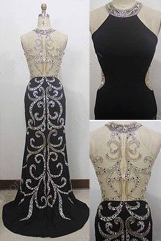 Black chiffon sequins beading see-through back long prom dresses