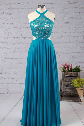 Blue chiffon lace halter open back crosss bacl long prom dresses