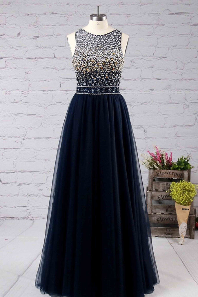 Princess scoop neck tulle floor-length with beading prom dresses - prom dresses 2018