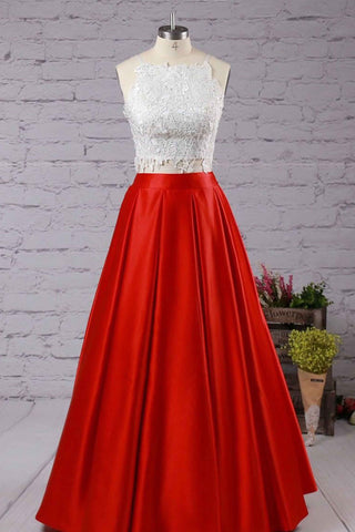 Ball gown square neckline satin floor-length with appliques lace prom dresses