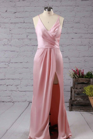 Pink V-neck satin chiffon floor-length with split front prom dresses