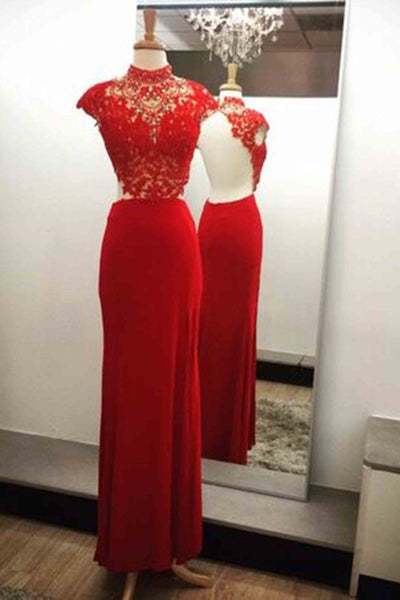Red chiffon lace beading cap sleeves open back long evening dresses