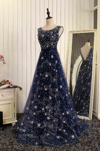 Luxury blue tulle star sequins beaded floor-length long evening dresses