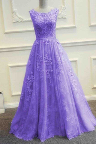 Purple tulle lace applique round neck A-line long evening dresses