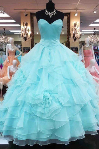 Blue chiffon sweetheart layer ball gown dress long evening dresses