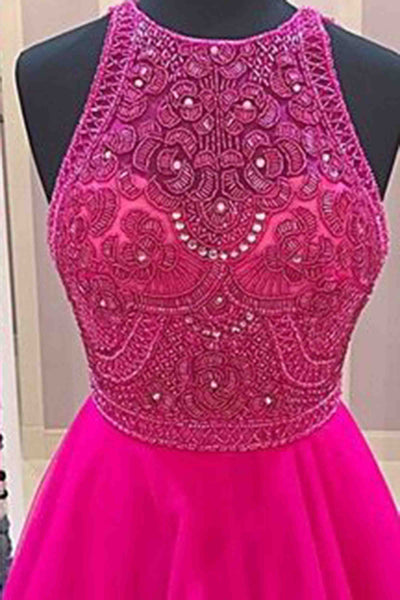 Hot pink tulle beading round neck A-line long evening dresses