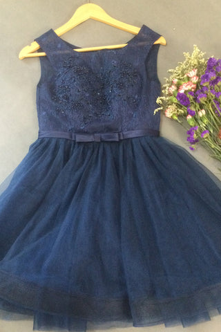 Dark blue tulle beading round neck A-line short dresses for teens