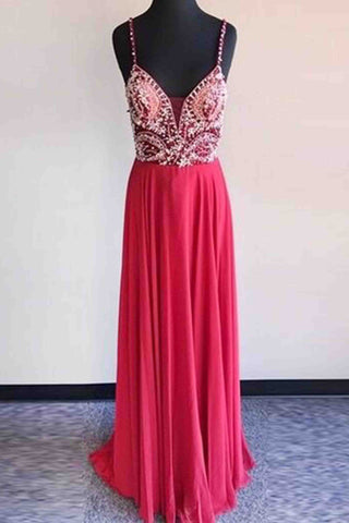 Hot pink chiffon beaded v neck A-line long evening dresses for prom