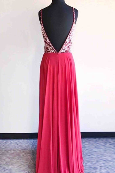 2018 evening gowns - Hot pink chiffon beaded v neck A-line long evening dresses for prom