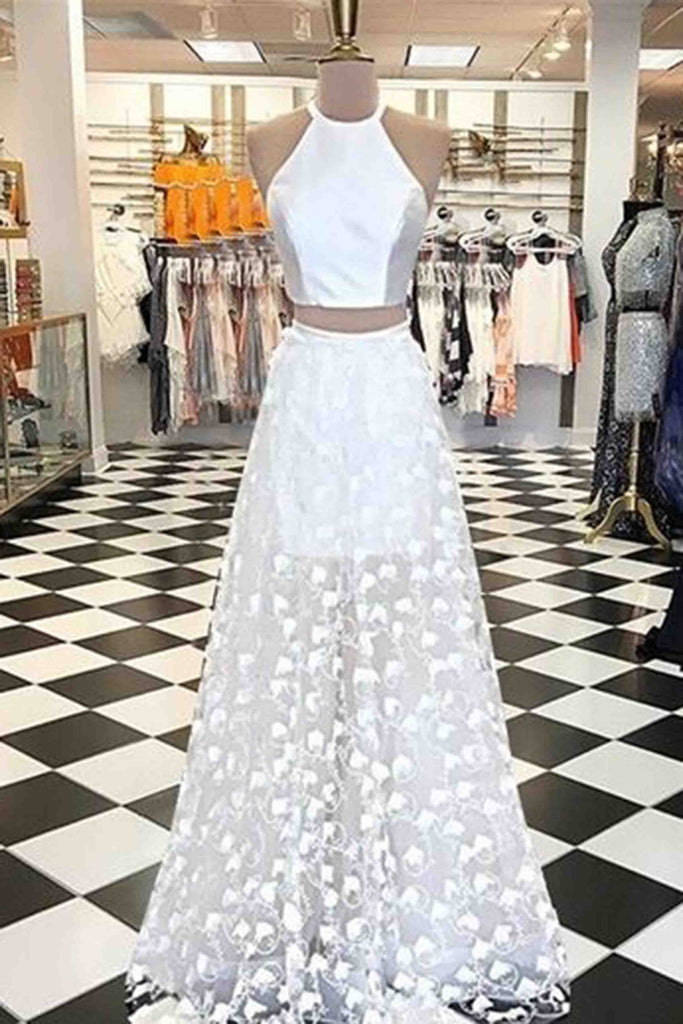 Sweet 16 Dresses | Pretty white tulle two pieces satin top round neck A-line long prom dress