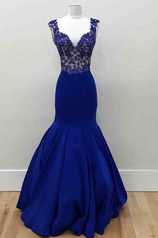 Navy blue satins lace applique v-neck  mermaid long evening dresses with straps