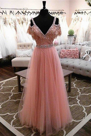 Unique design v-neck  long evening dresses,pink tulle cute dress