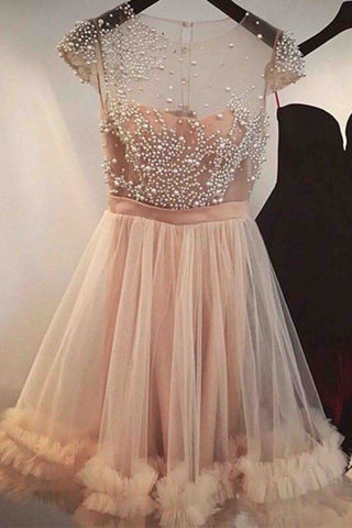 Unique design tulle pearl beaded see-through short dress,cute dress