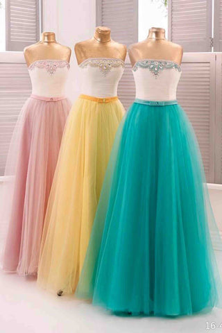 Beautiful tulle sweetheart beading rhinestone long dresses.teenager dress