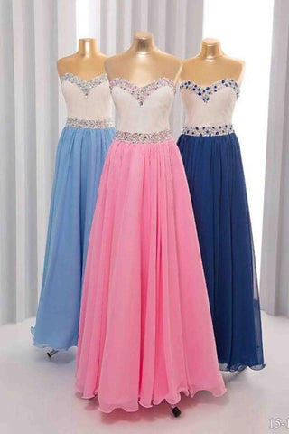 Beautiful chiffon sweetheart beading rhinestone long dresses.teenager dress