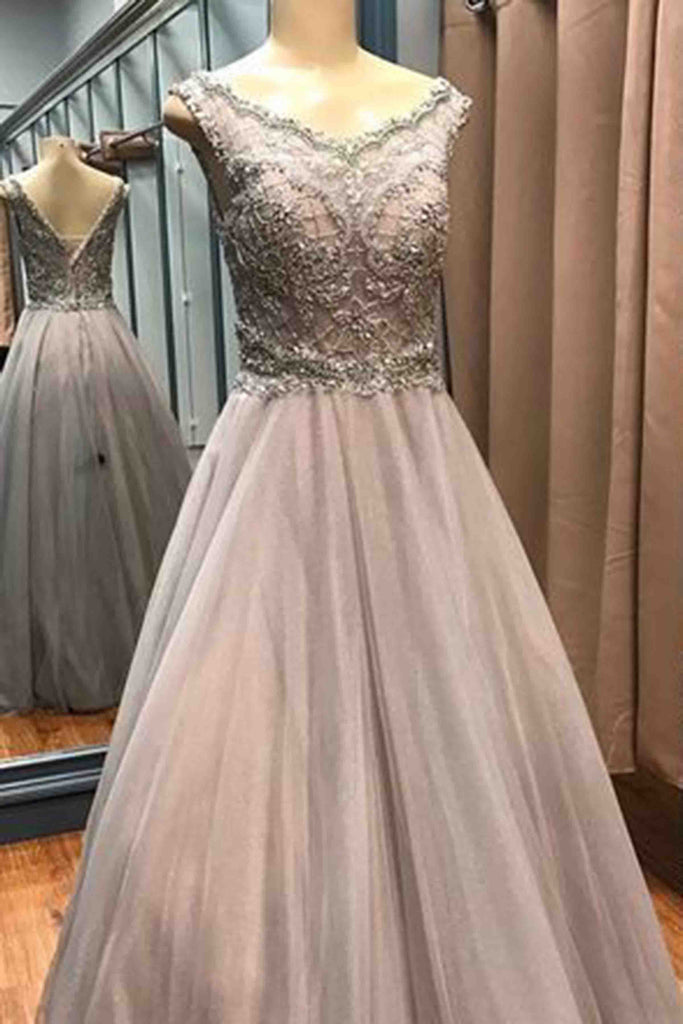 2018 evening gowns - Luxury beading long dress,gray tulle beading A-line prom dress