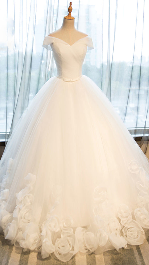 White organza off-shoulder wedding dresses ,ball gown dress - prom dresses 2018