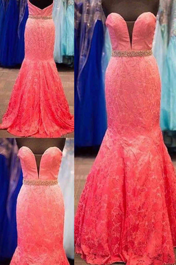 Coral Lace Sweetheart Sequins Long Dressesformal Dresses