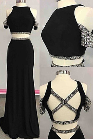 Black chiffon two pieces sequins long evening dresses,unique prom dress