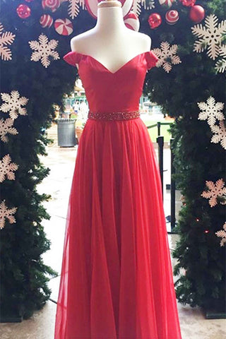 Red tulle off-shoulder long evening dresses,unique prom dress - prom dresses 2018