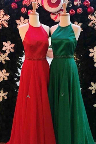 Tulle round neck A-line long evening dresses,bridesmaid dress