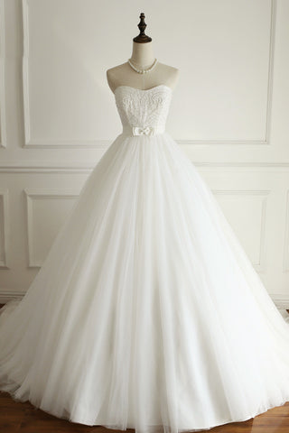 White tulle sweetheart beaded wedding dress,beautiful dresses