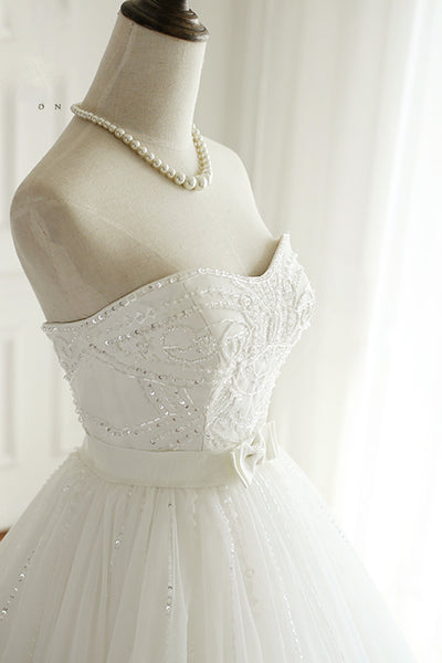 Sweet 16 Dresses | White tulle sweetheart beaded wedding dress,beautiful dresses