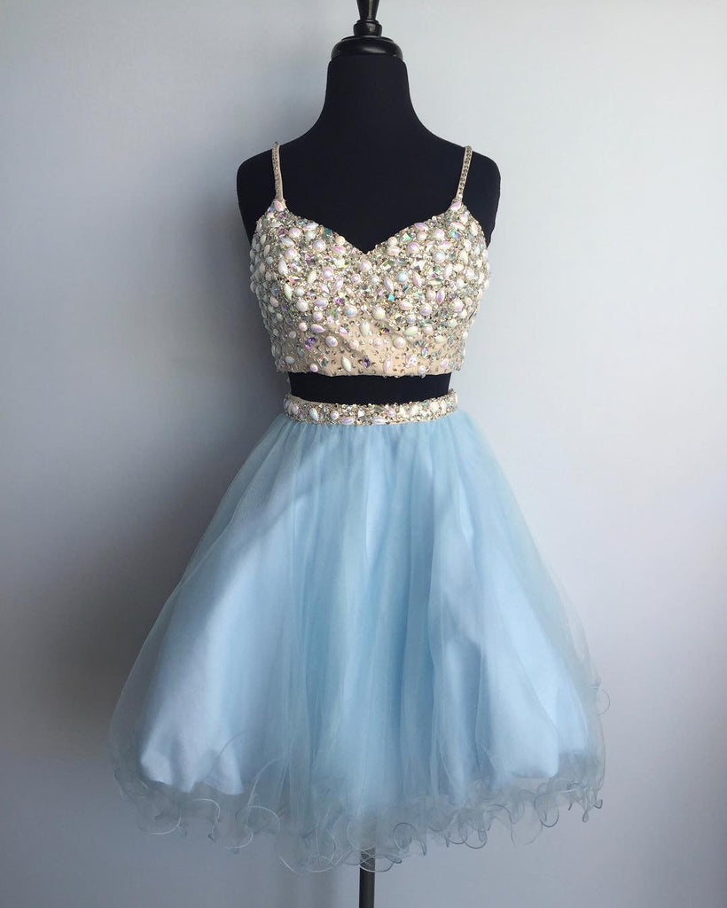 Blue tulle two pieces beaded short dress,cute dresses for teens - prom dresses 2018
