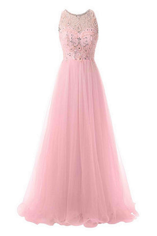 Pink tulle beaded open back long dress,round neck prom dress