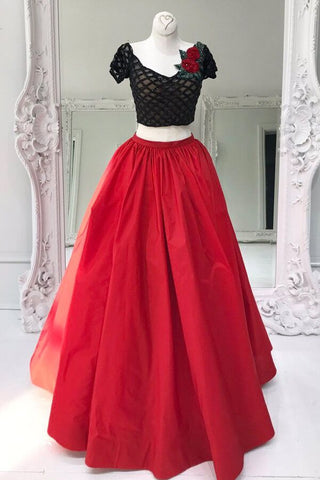 Red tulle two pieces sequins A-line long evening dresses,prom dress